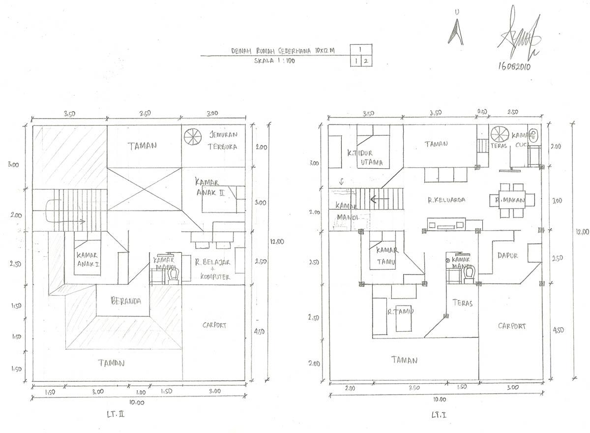 ini denah aslinya.. desain untuk keluarga dengan 2 anak 1 mobil 1 kamar tamu tanpa pembantu.